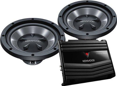 2) Kenwood KFC-W110S 10-Inch 1400W Subwoofers + 400W 2-Ch Amp (Package)