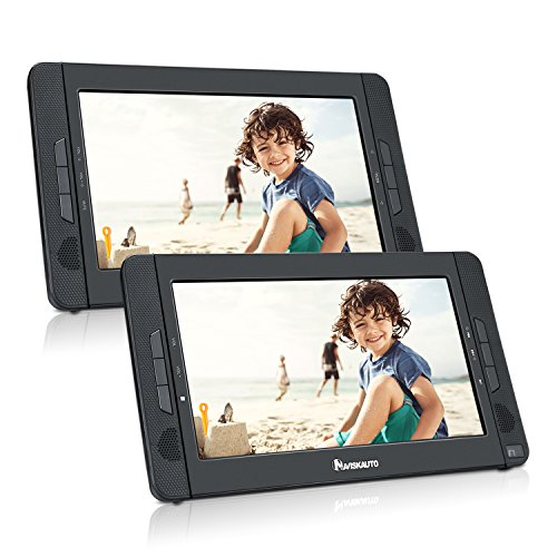 NAVISKAUTO 10.1″ Portable DVD Player Dual Screen, Car Backseat Headrest DVD Player Ultra-thin