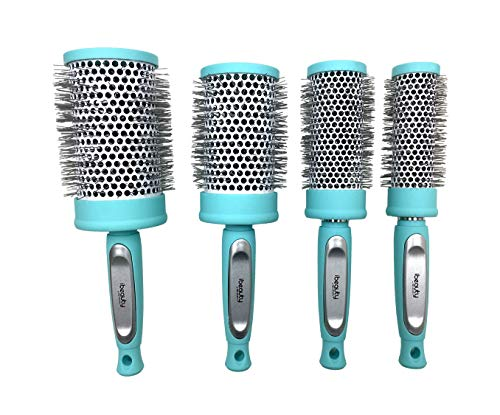 iBeauty 4pc Ceramic Ionic Tourmaline Round Styling Curling Hair Brush Set for Women Blow Drying Light Blue Color