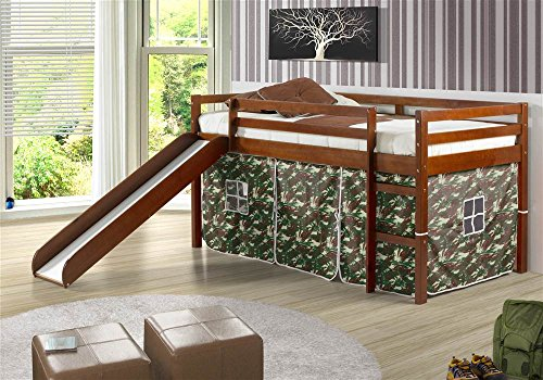 Donco Kids Twin Tent Loft Bed with Slide and Slats