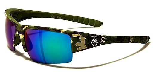 Khan Lunette de Soleil Cyclisme Vtt Moto Camouflage Militaire Ski Running / Power Camo (Noir, Fire Iridium Miroir)