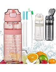 Waterfles met stro Drinkfles met tijdmarkering BPA Gratis sportfles, lekbewijs fietsfles voor kinderen Gym Camping Yoga Fitness Outdoor Cycling School