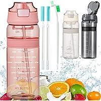Waterfles met Rietje Drinkfles met tijdmarkering BPA Gratis sportfles, lekbewijs fietsfles voor kinderen Gym Camping…