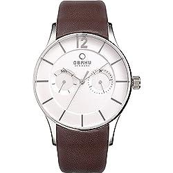 Obaku Watches Mens Multifunction Leather Watch