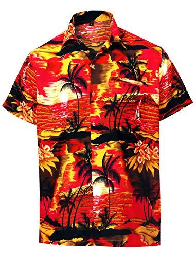 (Virgin Crafts Men's Hawaiian Shirt Coconut Tree Print Aloha Vacation Shirts Red)