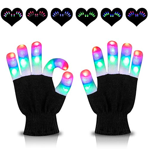 HOOMEDA LED Gloves Light Up Gloves Finger Lights 3 Colors 6 Modes Flashing Rave Gloves Novelty Toys for Christmas Xmas Birthday Party Halloween