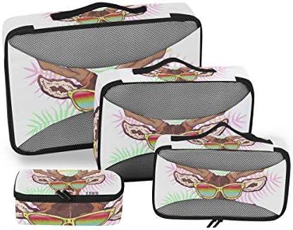 手描き鹿エルクメガネ荷物パッキングキューブオーガナイザートイレタリーランドリーストレージバッグポーチパックキューブ4さまざまなサイズセットトラベルキッズレディース