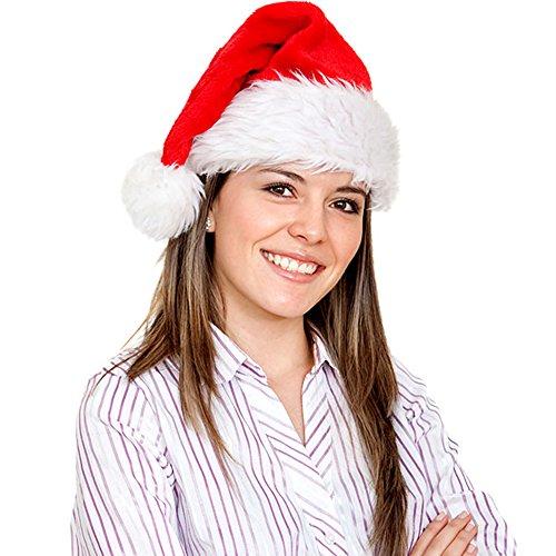 Father.son Christmas hat or Nice Festive Holiday Hat Velvet Santa Hat with Plush Trim (3pack) (Kids Santa Hat)