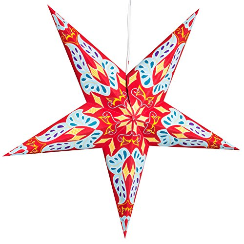 Dara-Red-Paper-Star-Lantern-with-12-Foot-Power-Cord-Included