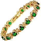 RIZILIA BLOSSOM Tennis Bracelet & Round Cut CZ [Simulated Green Emerald] in Yellow Gold Plated, 7''