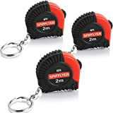Spifllyer 3 Pack Small Key Chain Mini Tape Measure Retractable Measuring Tape 2M/6ft Metric and Inch Scale with Keychain for Kids Toy Tools,Double Colored,PVC Coated