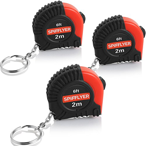 Spifllyer 3 Pack Small Key Chain Mini Tape Measure Retractable Measuring Tape 2M/6ft, Metric and Inch, Double - Keychain Measure Tape