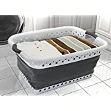 Vanderbilt Home PL5202 Pop and Load Collapsible Laundry Basket Small White/gray