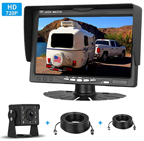 iStrong HD 720P Backup Camera  7'' Monitor Kit System For Cars/Trucks/Trailers/Campers/Fifth Wheels  IP69K Waterproof Night Vision Rear/Front View High-Speed Observation System Guide Lines ON/OFF
