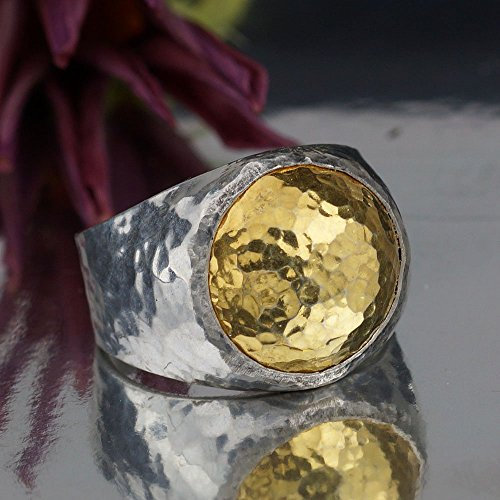 Bold Collection By Omer Hammered Dome Men's Ring Handmade 925 Sterling Silver (Bold Dome Ring)