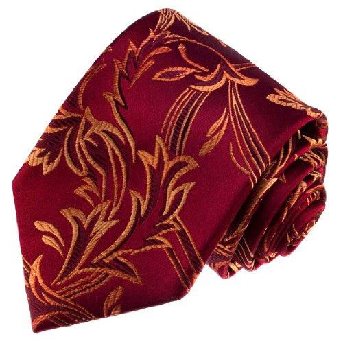 LORENZO CANA Italian 100% Pure Silk Necktie Red Burgundy Gold Floral 84377