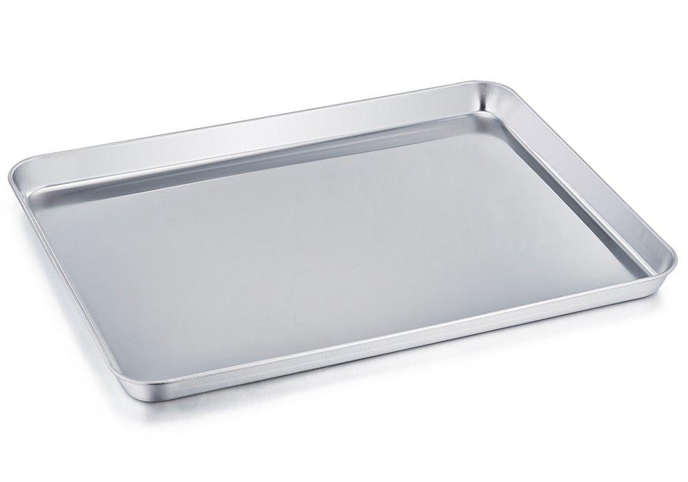 TeamFar Baking Sheet, Stainless Steel Baking Pan Cookie Sheet, Healthy & Non Toxic, Rust Free & Less Stick, Easy Clean & Dishwasher Safe