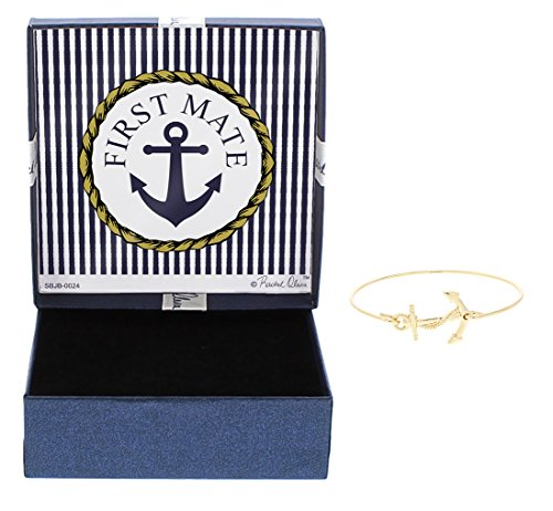 First Mate Preppy Anchor Jewelry First Mate Anchor Bracelet Fashion Gold-Tone Bangle Bracelet Jewelry Box Keepsake Gift Boating Girlfriend by Gift Jewelry By Rachel Olevia