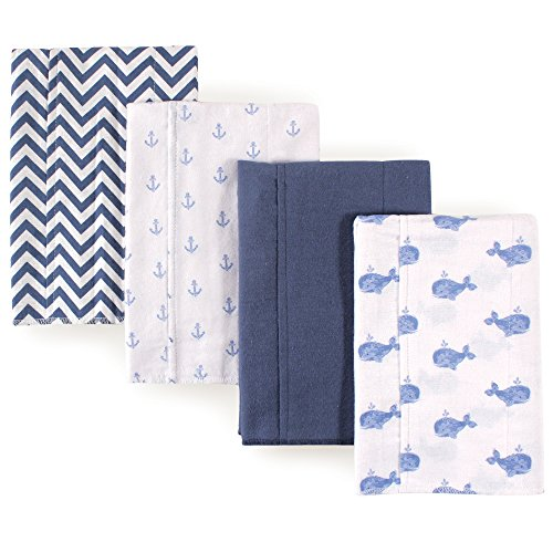 Hudson Baby Baby-Boy's 4 Pack Flannel Burp Cloths, Whales
