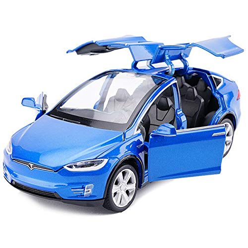 Toy Car Model x, Pull Back Car Toys Alloy Vehicles with Lights and Sound 1:32 Scale Model Car (Blue)
