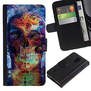 """A-type (Psychedelic Neon Skull"""") Colorida Impresión Funda Cuero Monedero Caja Bolsa Cubierta Caja Piel Card Slots Para Samsung Galaxy S5 V SM-G900"""