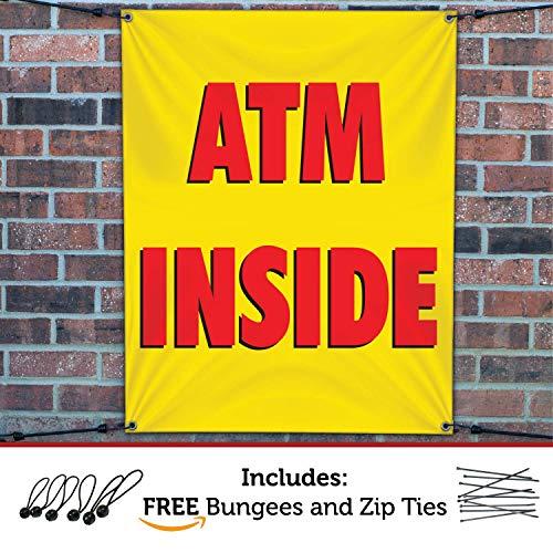 (HALF PRICE BANNERS   ATM Inside Vinyl Banner -Indoor/Outdoor 3X2 Foot -Yellow   Includes Ball Bungees & Zip Ties   Easy Hang Sign-Made in USA)
