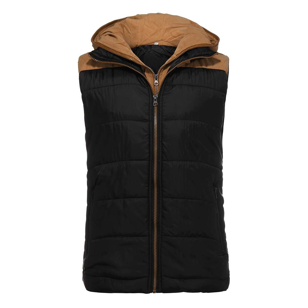 DENGZI Gilet Homme Mode Automne Hiver Gilet Zipper Top Manteau de Couleur Pure Noir-patchwork