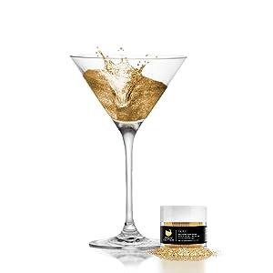 BREW GLITTER Edible Glitter For Drinks, Cocktails, Beer, Drink Garnish & Beverages | 4 Gram | KOSHER Certified | 100% Edible & Food Grade| Kosher Certified | Vegan, Gluten, Nut Free (Gold)