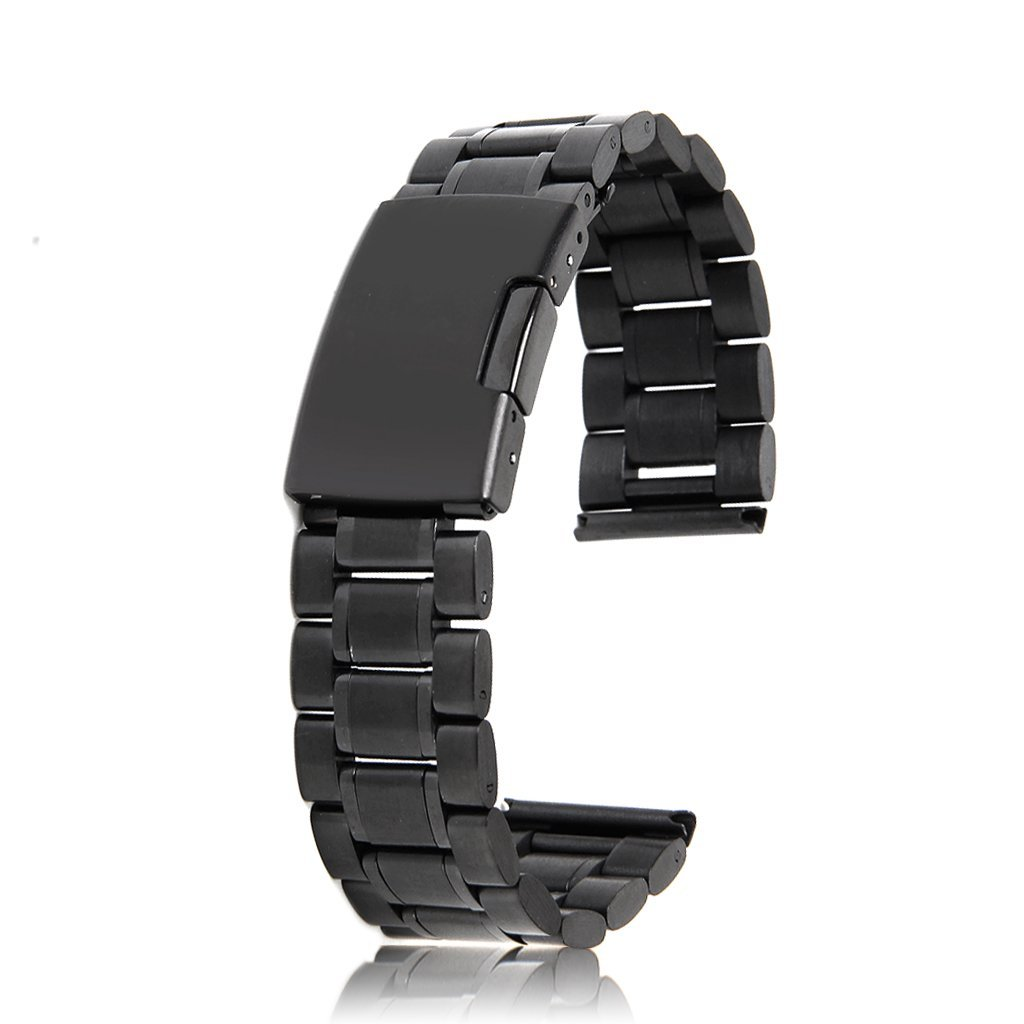142aba074 Correa de Reloj Hebilla Acero Inoxidable 24mm Color Negro: Amazon.es:  Relojes