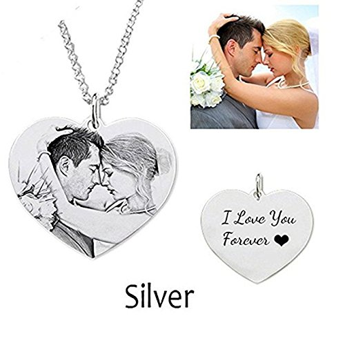 Photo Engraved Heart (Jack·F Necklace Custom Photo Necklace Heart Personalized Message pendant Christmas Birthday Gift (18 inches))