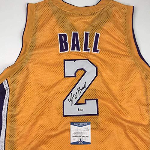 e745b824c2b0 Autographed Signed Lonzo Ball Los Angeles LA Yellow Basketball Jersey  Beckett BAS COA at Amazon s Sports Collectibles Store
