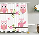 Owl Shower Curtain Ambesonne Owls Home Decor Shower Curtain Set, Cute Baby Owls Waving In The Floral Tree Springtime Artful Girly Design Print, Bathroom Accessories, 69W X 70L Inches, Pink Green White