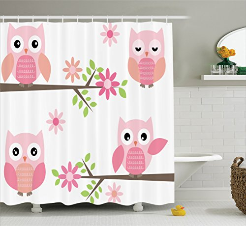Owls Home Decor Shower Curtain Set By Ambesonne, Cute Baby Owls Waving In The Floral Tree Springtime Artful Girly Design Print, Bathroom Accessories, 69W X 70L Inches, Pink Green White