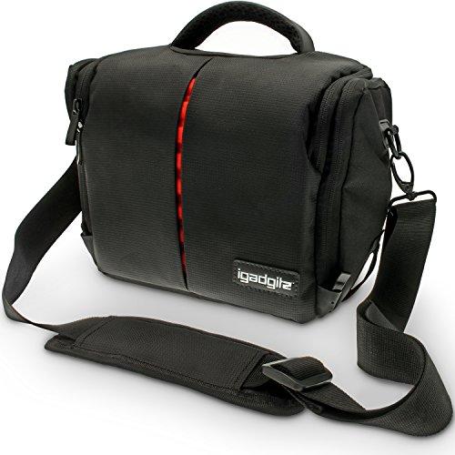 iGadgitz Medium Black Water Resistant Messenger Travel Bag Case with Rain Cover + Shoulder & Waist Strap for Nikon DSLR D1, D2, D3, D4, D5, D6, D7, D8 D9 Series Cameras