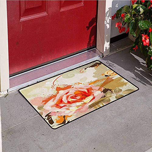 (GloriaJohnson Rose Welcome Door mat Abstract Artistic Composition with Big Grunge Rose and Floral Retro Motifs Door mat is odorless and Durable W19.7 x L31.5 Inch Khaki Orange Pink)