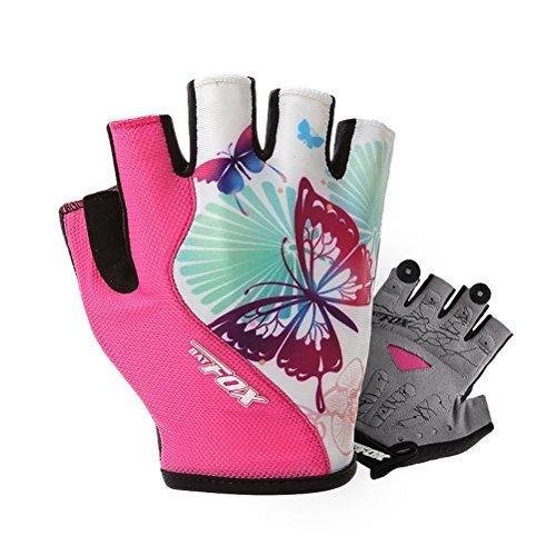DuShow Cycling Gloves Women Half Finger Gel Padded Bike Gloves Anti-Slip Shock-Absorbing Fingerless Bicycle Short Gloves(Pink,L)