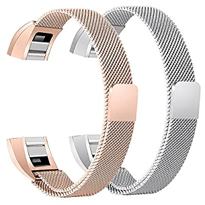 bayite For Fitbit Alta HR and Alta Bands Pack of 2, Replacement Milanese Loop Stainless Steel Metal Bands Women Men Silver and Rose Gold
