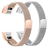 bayite For Fitbit Alta HR and Alta Bands Pack of 2, Replacement Milanese Loop Stainless Steel Metal Bands Women Men, Silver and Rose Gold 6.7'' - 8.1''