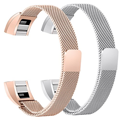 bayite For Fitbit Alta HR and Alta Bands Pack of 2, Replacement Milanese Loop Stainless Steel Metal Bands Women Men, Silver and Rose Gold 6.7'' - 8.1'' by bayite