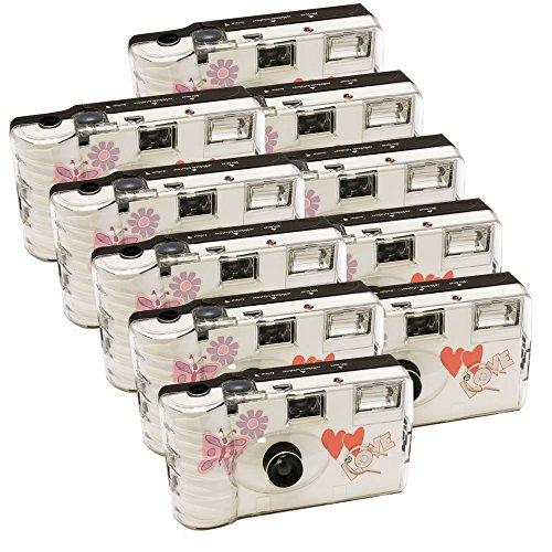 10x PHOTO PORST Hochzeitskamera mit Schmetterling / Einwegkamera / Partykamera (je 27 Fotos, mit Blitz, 10-er Pack)