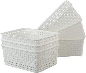 Xowine Plastic Multi-Purpose Storage Basket, Desktop Organizer Bins, 6-Pack, White