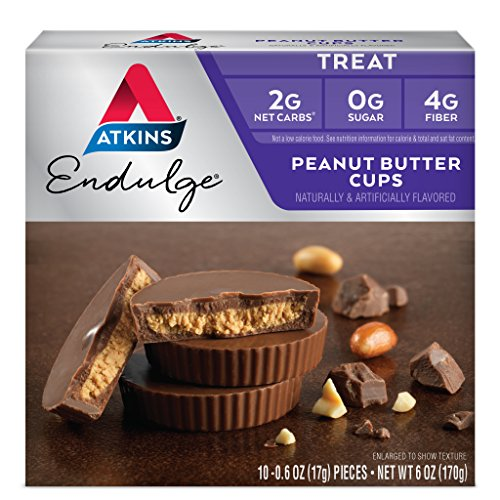 Atkins Endulge Treat, Peanut Butter Cups, 10 Count (Pack of 6) -