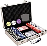 DA VINCI 200 Dice Striped 11.5 Gram Poker Chip Set with Aluminum Case, Dealer Button, 2 Decks of Cards