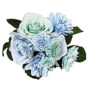 BECOR Fake Flowers Bouquet Artificial Silk Rose Carnation Plant with Leaves for Wedding Home Party Table Decor, 10 Flowers Per Bunch, 8 Stems Per Pack 17