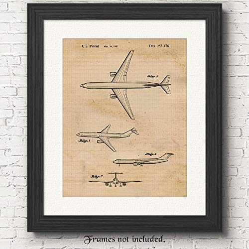 Original Boeing Patent Poster Print - Set of 1 (One 11x14) Unframed Picture - Great Wall Art Decor Gift for Home, Office, Garage, Man Cave, Studio, Student, Teacher, Pilot, Airport ()