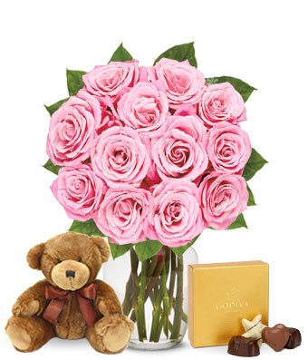 Flowers - One Dozen Pink Roses with Chocolates and a Bear (Free Vase Included)