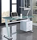 Unmatchable Computer Desk PC Table Work Station Glass Top and Sides Drawers (White)