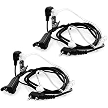 Covert Acoustic Tube Walkie Talkie Earpiece, 2-Pin PTT Mic Two Way Radio Headworn Microphone for Baofeng, Puxing, Kenwood, Wouxun Brands - ( 2 Pack )