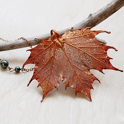 Enchanted Leaves - Large Fallen Copper Maple Leaf Necklace - Iridescent Copper Plated REAL Sugar Maple Leaf