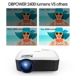 DBPOWER T22 HD Video Projector 2200 Lumens Support 1080P with Free HDMI AV Cable for Multimedia Home Cinema Theater from DBPOWER
